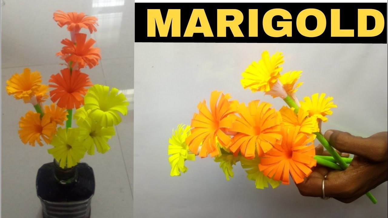How To Make Paper Marigold Flower Step By Step Flowers Healthy