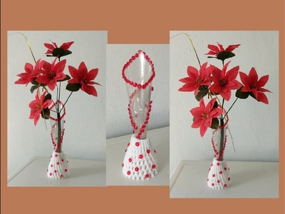 Idéias com garrafa plástica,how to make flower vase with plastic bottle,plastic bottle flower vase