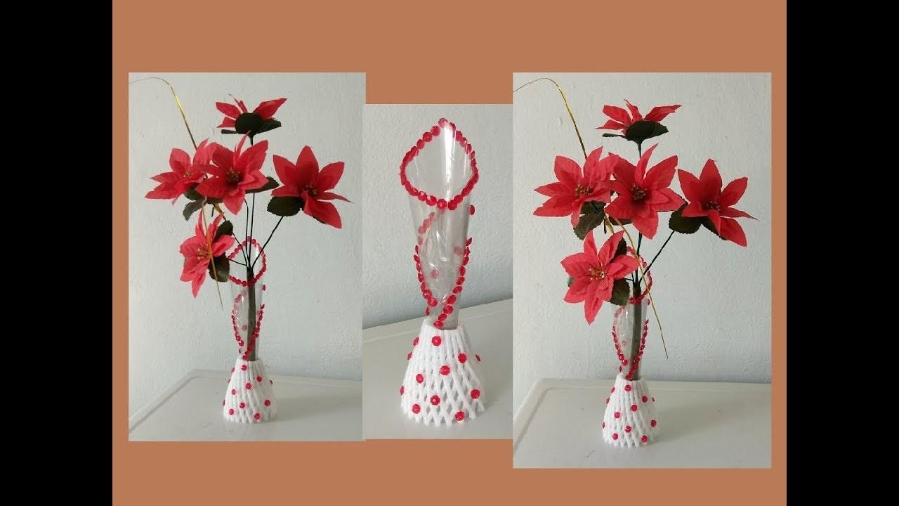 Idéias com garrafa plástica,how to make flower vase with plastic bottle,plastic bottle flower vase