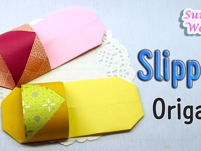 Origami - Slipper, Shoes (You can wear these slippers!. How to make paper shoes)