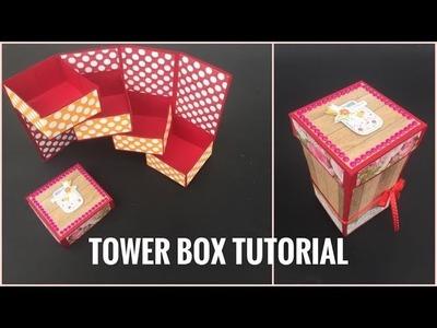 Tower Box Card Tutorial | How to make Tower Box | Stepper Box | Tower Box Card | Soumya Dubey