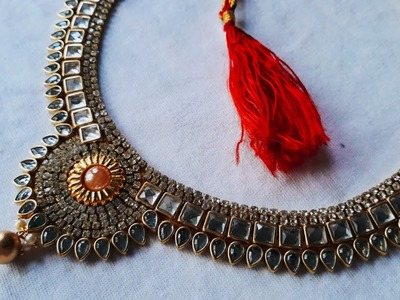 (DIY)HOW TO MAKE BEAUTIFUL BRIDAL WEAR NECKLACE.HANDMADE JEWELLERY.HOORIYA STYLE