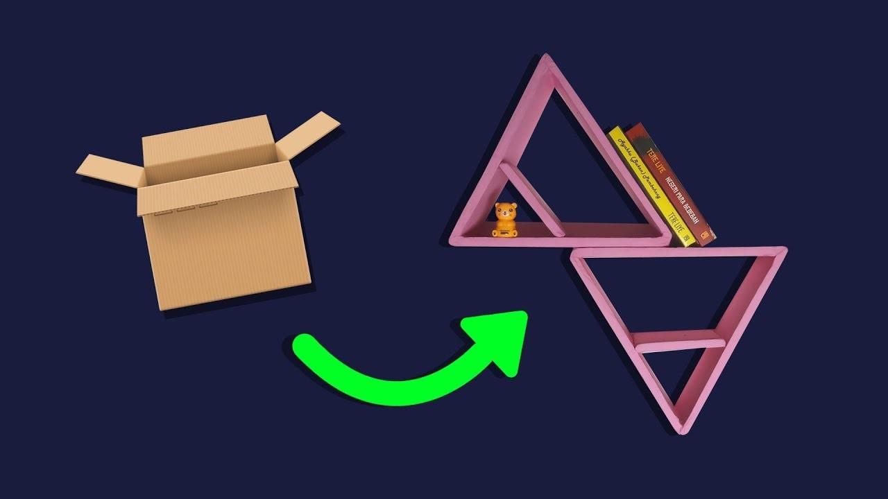 DIY TRIANGLE SHELVES | DIY WALL DECOR IDEAS, CARDBOARD CRAFT FOR DIY ROOM DECOR, IDEA HOME DECOR