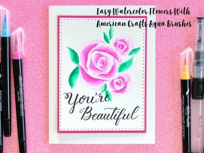Easy Watercolor Tutorial with Kelly Creates Aqua Brushes from American Crafts