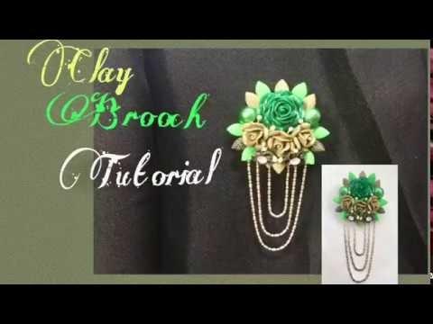 How to make clay brooch.coat pin at home tutorial
