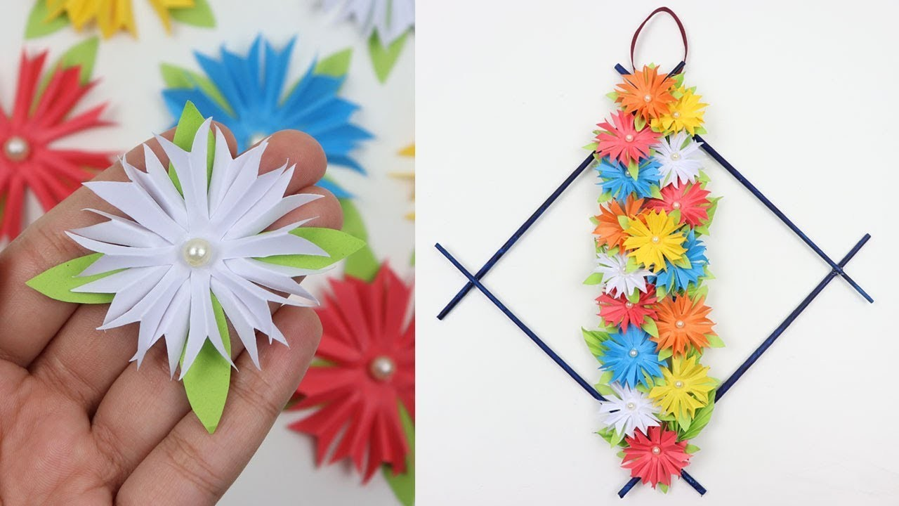 How to make diy easy paper flowers wall hanging beautiful wall decor how to make diy easy paper flowers wall hanging beautiful wall decor ideas handmade wall crafts mightylinksfo