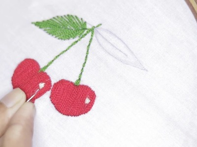 How to Make Hand Embroidery Cherry By Filling Stitch | DiyRoll