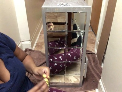 IKEA MIRRORED DRAWER.USING DOLLAR TREE MIRRORS!!!!!