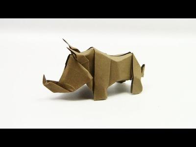 Origami Rhino (Rhinoceros) by 摺紙 (Lin Chen) - Yakomoga Easy Origami tutorial