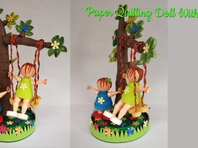 Paper Quilling Doll with swing. Friendship day Special Quilled gift.Quilling Showpiece