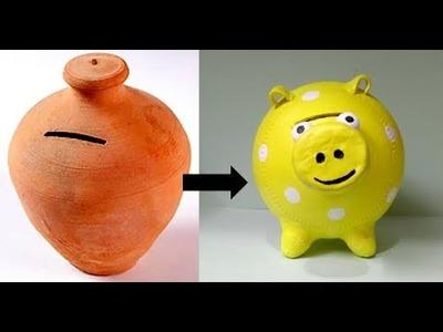 Shilpkar Craft Idea, Air-Dry Clay Piggy Bank, How to make a Clay Piggy Bank, DIY Designer Piggy Bank