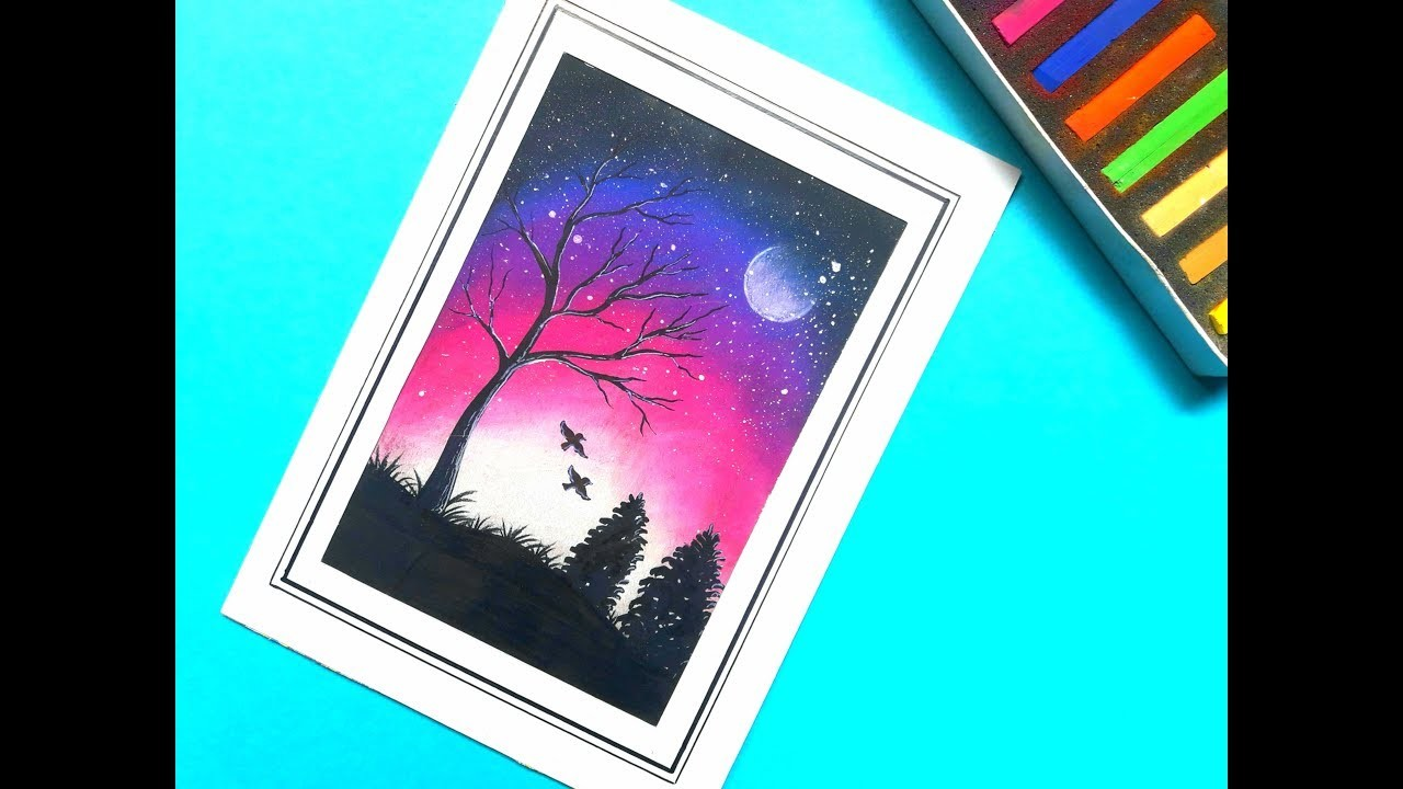 Very Easy Night Sky Scenery Drawing With Pastel Step By Step For