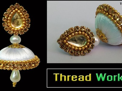 Attactive Simple and Beautiful Silk thread earrings    beginers easy bridal designs    Thread Works