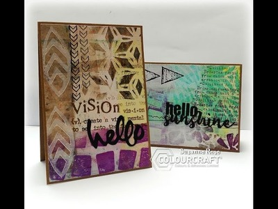 Brushos used with the Gelli Plate - Mixed Media Cardmaking Tutorial