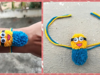 DIY || Make Awesome Woolen Pom Pom Minions Rakhi for Kids at Home in 5 Mins  || World of Artifact