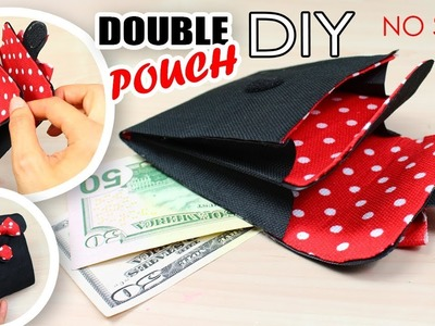 DIY MINI WALLET AWESOME DOUBLE POUCH TUTORIAL NO SEW