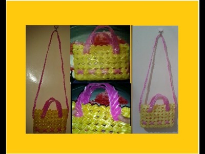 HOW TO CREATE HANDY CUTE BAG made by recyclable softdrinks plastic straw PART 3