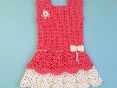How To Crochet Baby Ruffle Dress(کرو شیہ بے بی فراک)