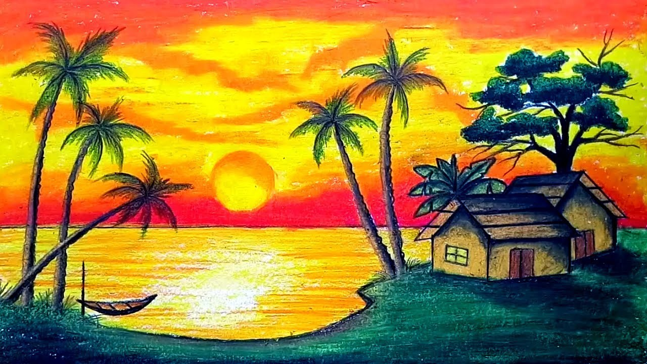 How To Draw Scenery Of Sunset With Oil Pastel Step By Step Easy Draw