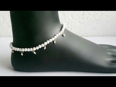 How to make anklet at home| beautiful and easy