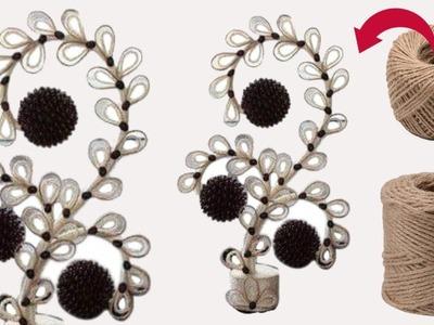 Jute craft ideas|| jute flower ||plastic bottle craft ideas||dustu pakhe||