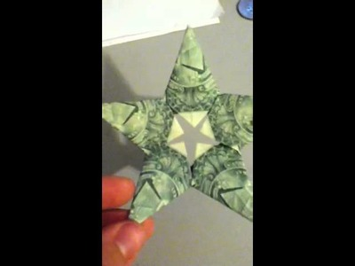 Money origami 5 pointed star