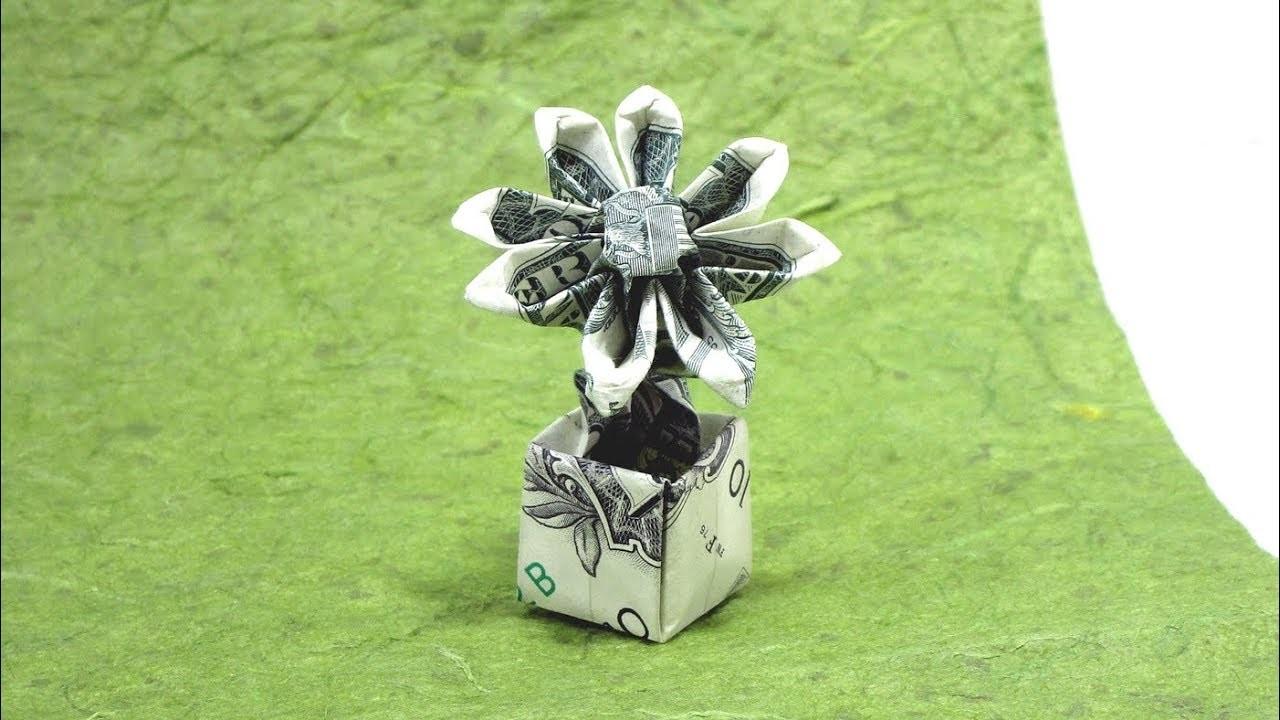 Origami Dollar Bill Flower In A Pot Tutorial Herman Lau