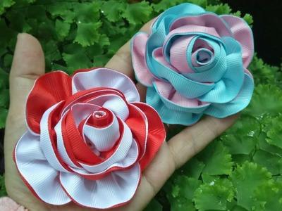 118) DIY - Tutorial    Cara Membuat Bros Bunga Mawar Serut 2 warna    How to make Two colors rose