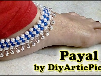 #124 Simple Way to Make a Beautiful Payel by DIYARTIEPIE || Pearl Making Jewellery || Nupur Making