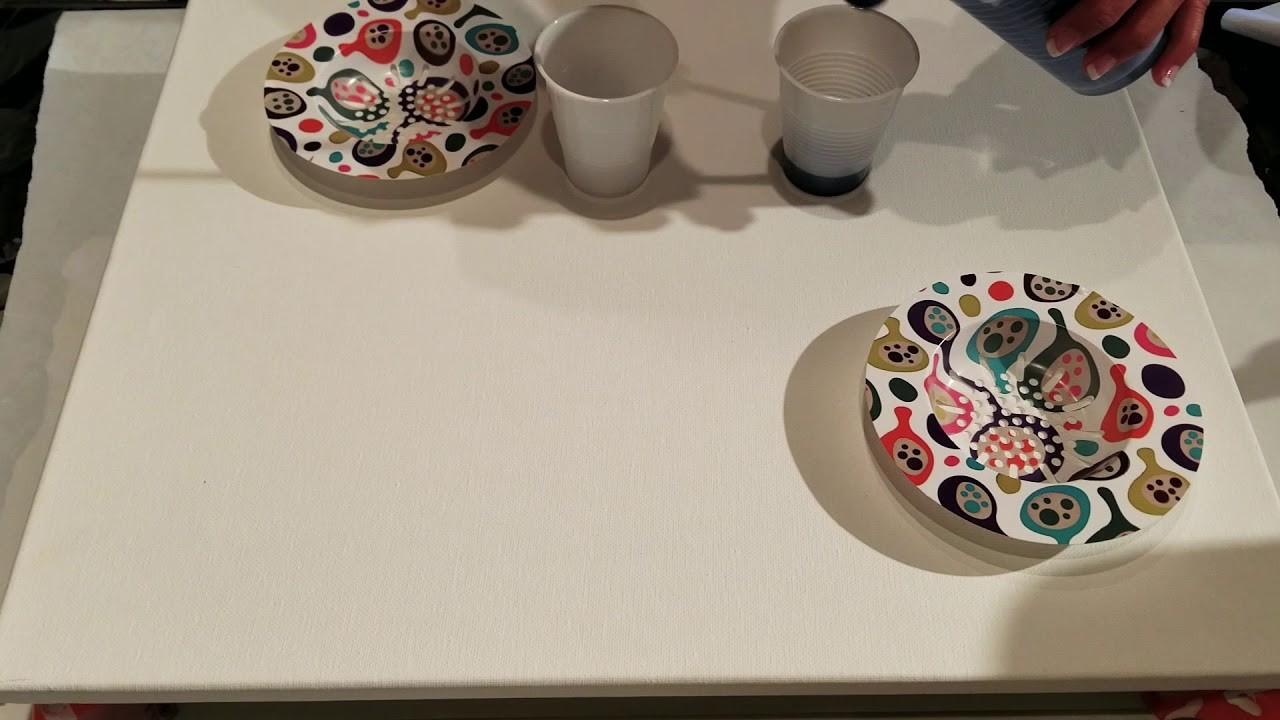 Acrylic Paint Pour Through a Sink Strainer