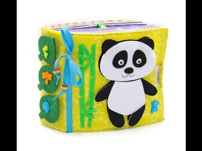 Activity toy, developmental toys, quiet book, educational toy, eco friendly, panda - 12 pages