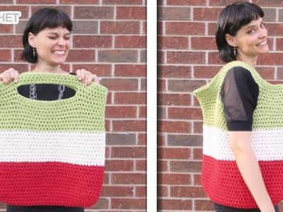 Big Crochet Market Tote Bag with Large Colour Blocks