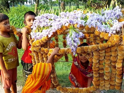 Bur Flowers Traditional Marriage Vehicle (Palki) - Beautiful Toys Palanquin Making For Kids Playing
