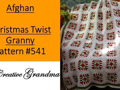 Christmas Twist Granny Square Afghan - Crochet Tutorial - Pattern 541