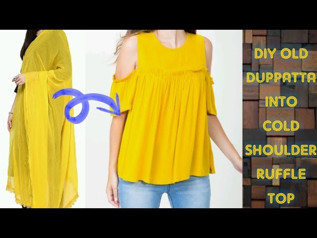 Convert.Recycle.Reuse Old Duppatta.Saree into cold shoulder Ruffle top Only in 2 minutes(Hindi)
