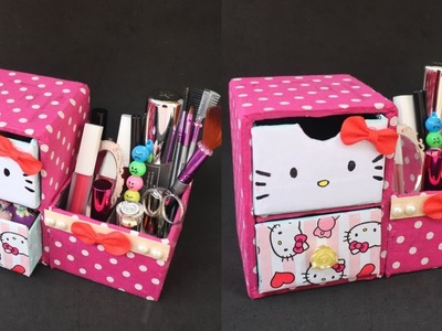 DIY Desk Organizer. DIY Makeup Organizer. Cajas organizadoras de Hello kitty.Hello kitty organizer