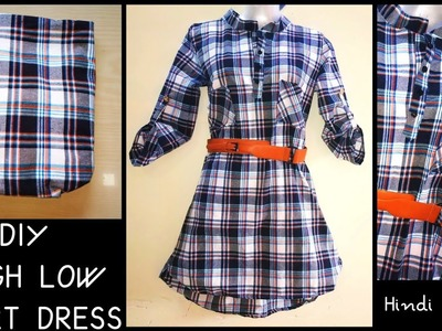 DIY : High-Low Shirt Dress Using Leftover Fabric ~