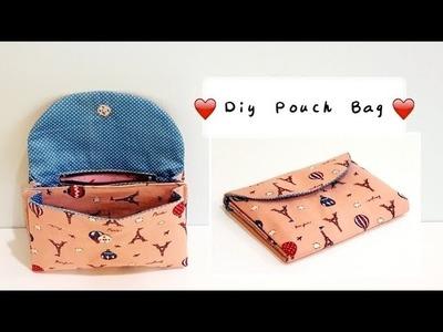 Diy pouch bag with zipper & layer | Free Template DOWNLOAD【用这种方法制作手握包比其他方法容易多了!】