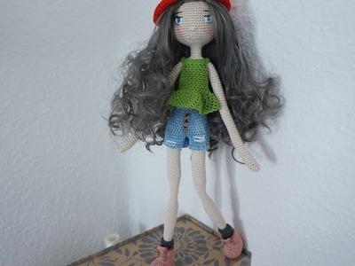 Doll short denim crochet. doll outfit