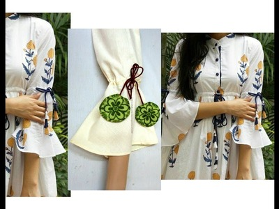 Extended Bell Sleeves with Draw Strings Churidar. Kurti Cutting & Stitching - Very Simple & Easy