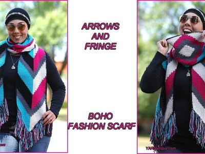 How to Crochet Tutorial: DIY Arrows and Fringe Boho Fashion Scarf by YARNutopia