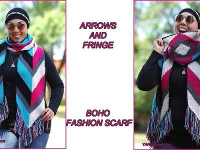 How to Crochet Tutorial: DIY Arrows and Fringe Boho Fashion Scarf by YARNutopia