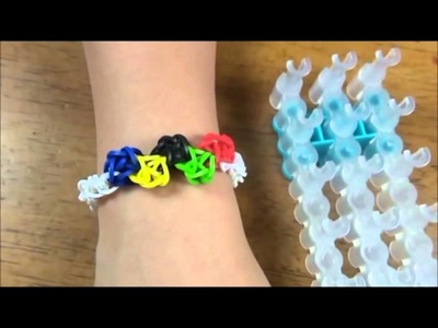 How to make a Olympic theme rubber band bracelet made with Rainbow Loom