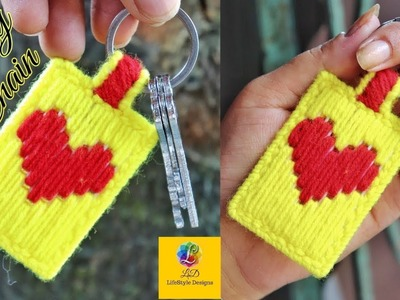 How to make a Plastic canvas key chain | Heart sign key chain | Best craft idea of key ring
