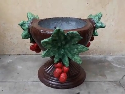 How to make beautiful cement pot easily at home.