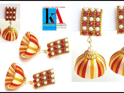How to make designer silk thread Earrings with stud. Earrings with Stud at home
