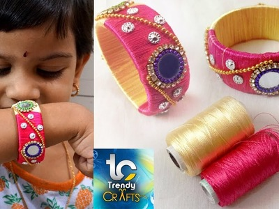 How to make silk thread bangles with gold drop chain # multi color threads For Kids