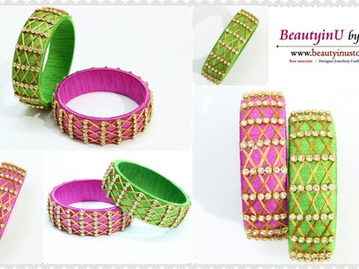How to make Zig Zag Silk Thread Bangles at Home. Designer Bangles. Silk Thread Jewellery. DIY