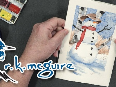 How to Paint a Snowman Holiday Card | Watercolor Lesson with R K McGuire