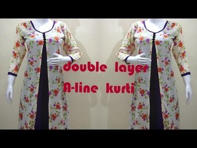 Letest designer double layer kurti cutting and stitching